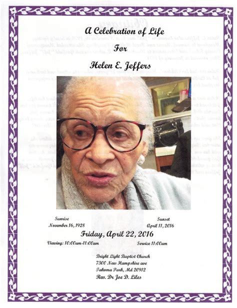 helen jeffers obituary washington district of columbia