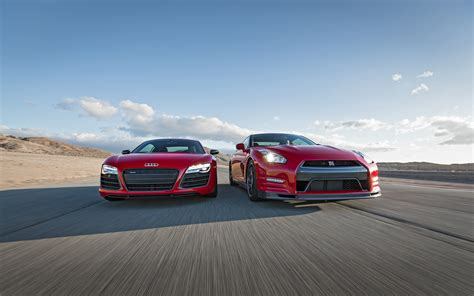 Nissan Gtr Vs Audi R8 by 2014 Audi R8 V10 Plus Nissan Gt R Track Pack Front End In