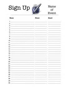 Printable Sign Up Sheet Template Free by Sign Up Sheet Template Peerpex