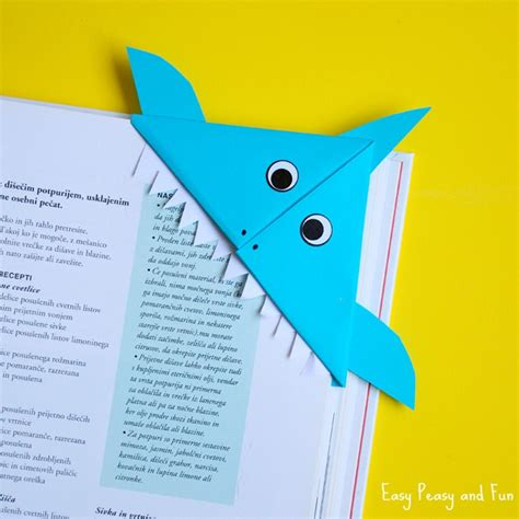 Origami Corner Bookmarks - shark corner bookmark easy peasy and