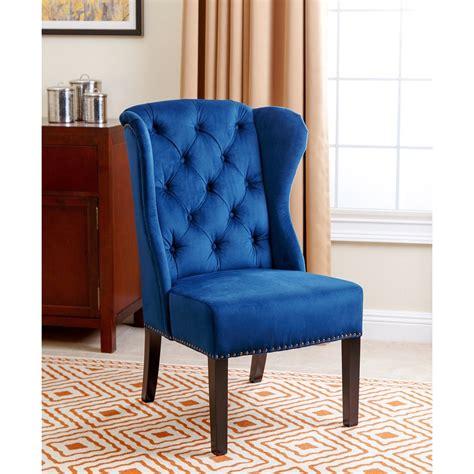 Navy Blue Velvet Chair by Abbyson Tufted Navy Blue Velvet Wingback Dining
