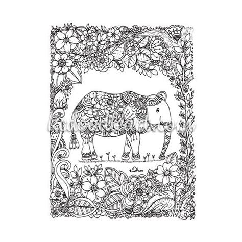 mosaic elephant coloring page digital elephant doodle adult coloring page by kcdoodleart