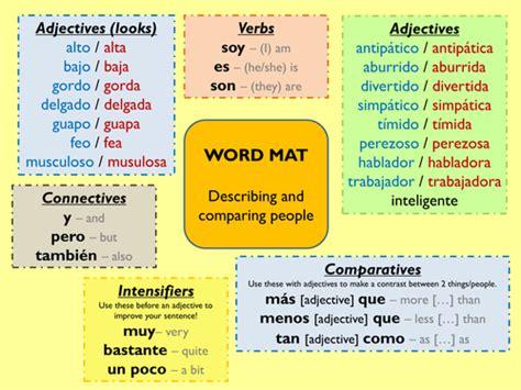 Adjectives Mat by Word Mat For Describing By Myrtille Teaching