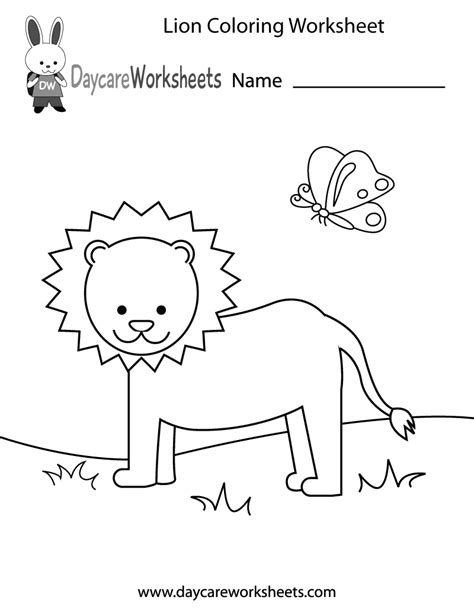 Free Printable Lion Coloring Worksheet For Preschool Coloring Worksheets For