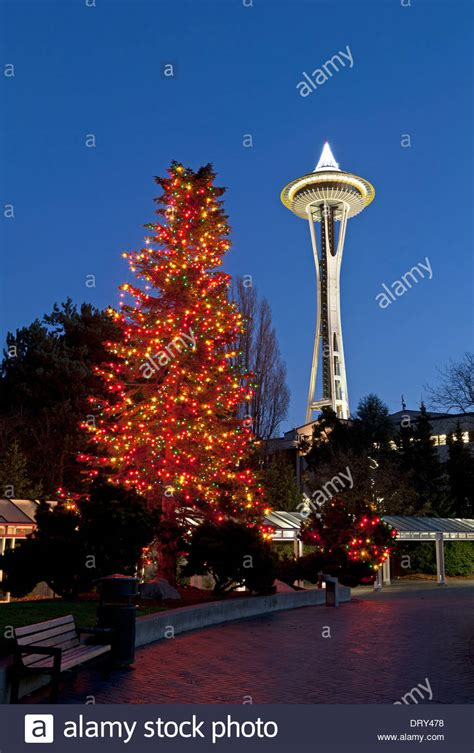 christmas tree lighting seattle washington tree and space needle at the seattle center stock photo 66364236 alamy
