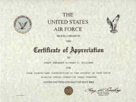 air force certificate of appreciation template air certificate of appreciation