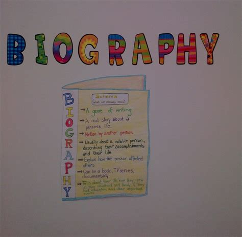 autobiography anchor chart anchor charts pinterest biography anchor chart language and writing activities