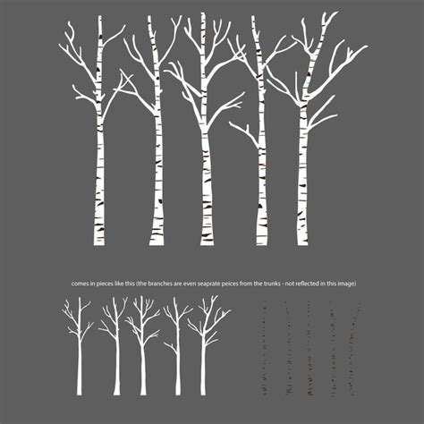 Owl Wall Stickers For Nursery birch trees silhouettes forrest wall decal contemporary
