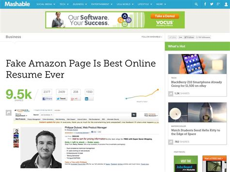 fake amazon page is best online resume ever mashable our favorite tweets of the week january 28 2012