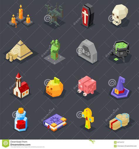 icons set pumpkin witch hat cauldron stock