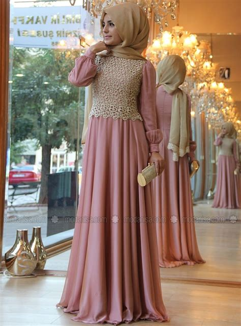 Kalung Fashion Wedding Or Pesta New 7 fashion dress pink a line lace o neck beautiful muslim evening dresses gown 2015