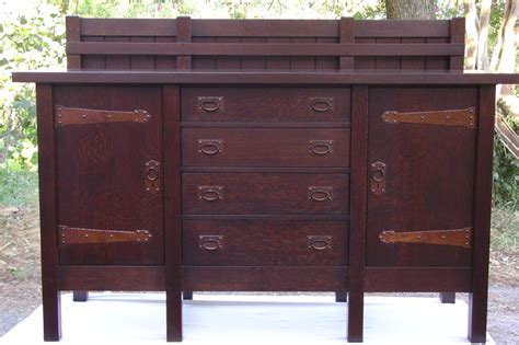 stickley oak mission classics roycroft 5 drawer sideboard voorhees craftsman mission oak furniture gustav stickley