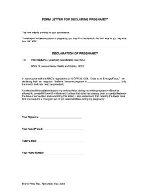 proof of pregnancy form pdf fill printable