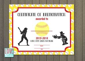 Softball Certificate Templates by Softball Baseball T Award Certificate Printable