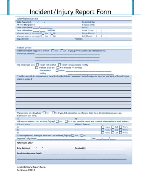 template incident report form incident report template helloalive