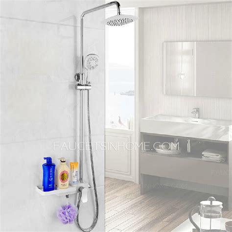 modern brass shower faucet for bathroom with shelf