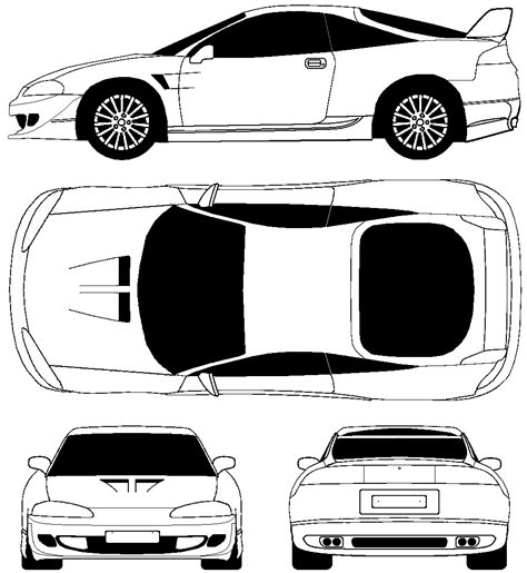 mitsubishi eclipse drawing car blueprints 1995 mitsubishi eclipse ii tuning coupe