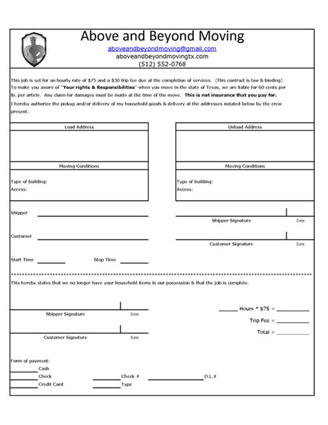 Moving Contract Free Printable Documents Moving Agreement Template