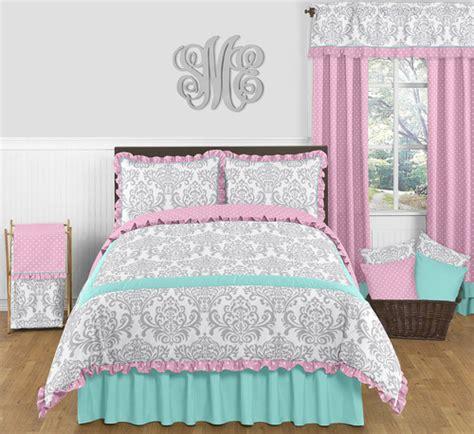 teens designer turquoise  pink fullqueen bedding set