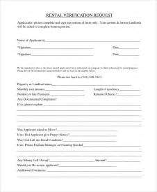 rent verification letter template sle rental verification form 10 exles in pdf word