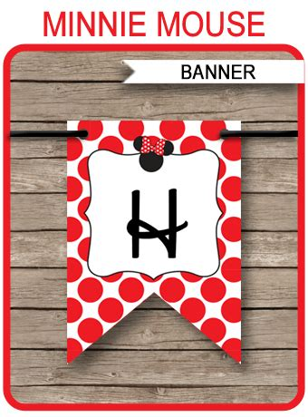 minnie mouse birthday banner template red editable bunting