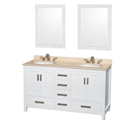 60 Inch White Bathroom Vanity Sheffield 60 Inch Sink Bathroom Vanity White Finish Set By Wyndham Collection