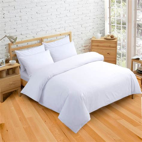 Plain Dye Bedding Sets Plain Dyed White Colour Bedding Duvet Quilt Cover Set Polyester Cotton