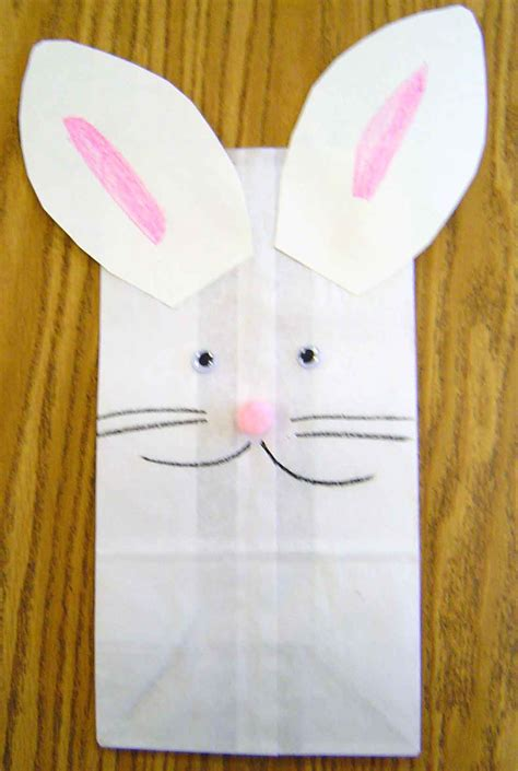 easter bunny paper bag puppet template easter theme activities in preschool