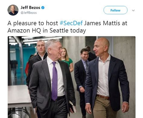amazon ownership jim mattis begins tech outreach with amazon visit daily