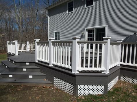 gray deck white and gray wood porch composite decks hot tub decks