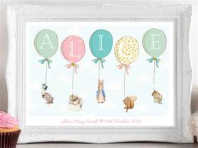 a4 personalised peter rabbit beatrix potter balloon print picture christening birthday gift