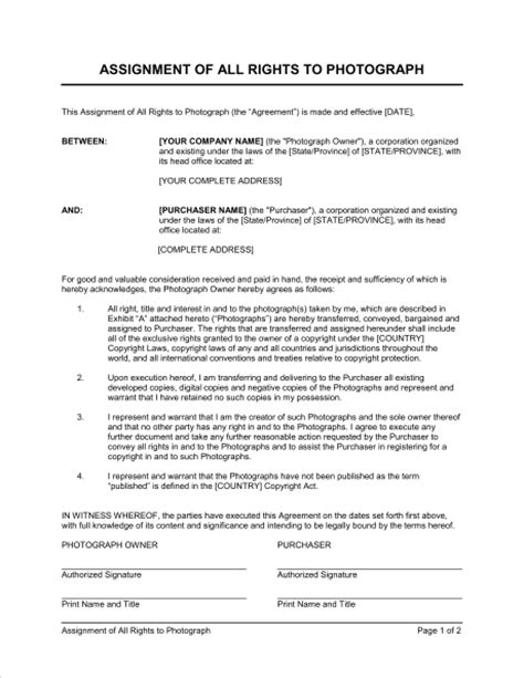 Sle Letter Of Agreement Photography assignment of all rights to photograph template sle form biztree