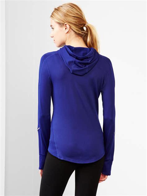 Hoodie Zipper Sweater Gap gap fit quarter zip pullover hoodie in purple purple royale 658 lyst