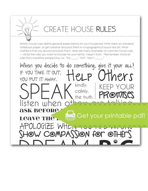 house rules design your home 16 create house rules print parenting adhd autism