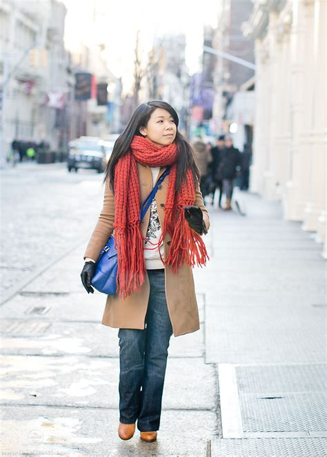 soho winter camel coat orange scarf labellemel