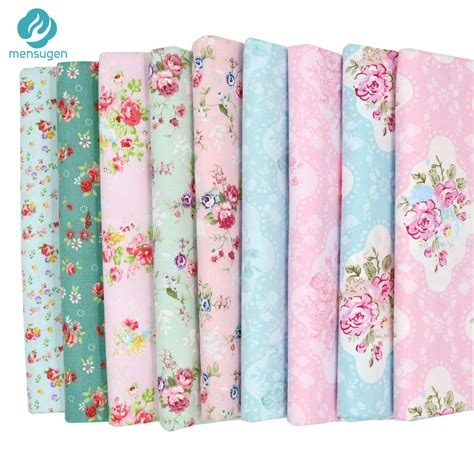 Fabric For Patchwork - 9pcs lot 20cm 25cm blue green pink floral cotton fabric