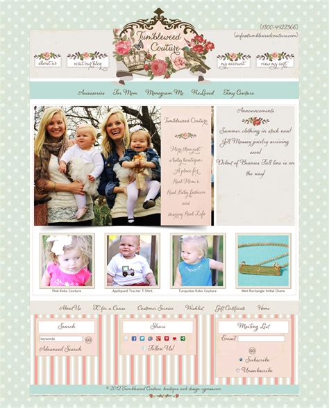 shabby chic websites tumbleweed couture web design