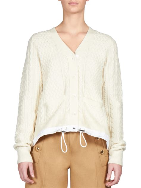 white knitted cardigan sacai luck drawstring cable knit cardigan in white lyst