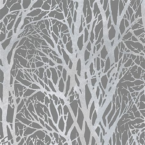 light grey wallpaper trees as creation shimmering forest wallpaper 30094 3
