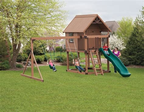 playhouse with swing set house swingset home inspiration pinterest