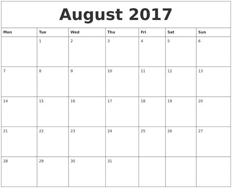 monday thru sunday calendar 2017 calendar 2017 printable