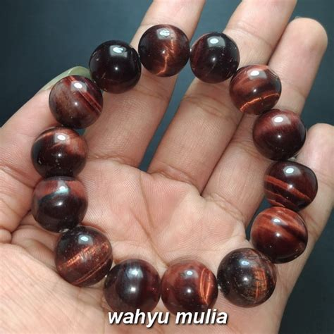 Akik Tiger Eye gelang batu tiger eye biduri sepah merah 14 mm asli kode