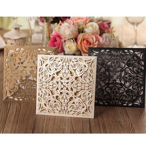 Black Elegance Wrpcc Laser Cut 1pcs sle gold white black laser cut flora wedding invitations card lace