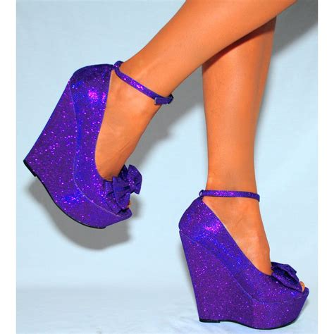 high heeled wedges purple glitter sparkly wedges high heels peep toe