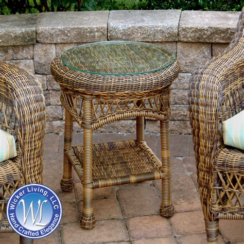 outdoor wicker end tables wicker end table outdoor resin side table