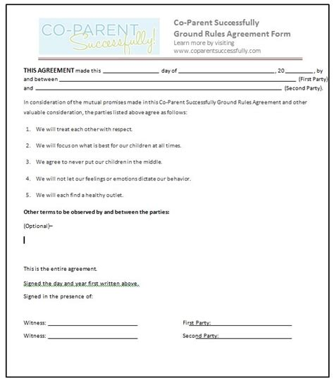co parenting agreement template separation agreement form separation agreement