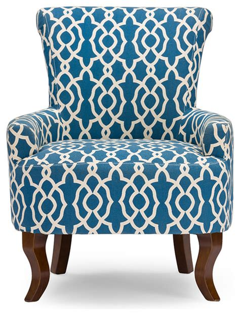 fabric armchair navy blue patterned fabric