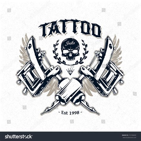 tattoo machine designs plans cool authentic studio poster template stock vector