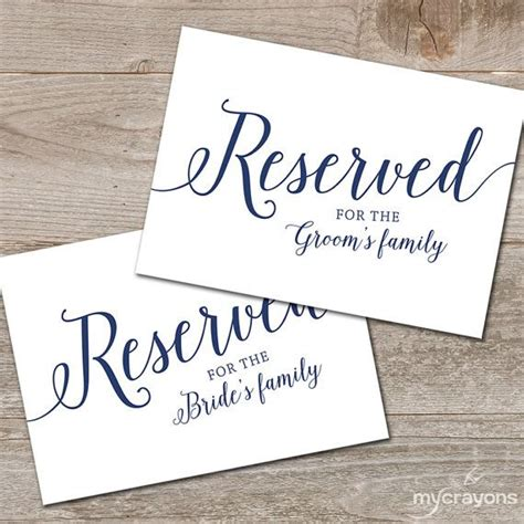 Reserved Seating Card Template Ceremony by Best 25 Reserved Wedding Signs Ideas On