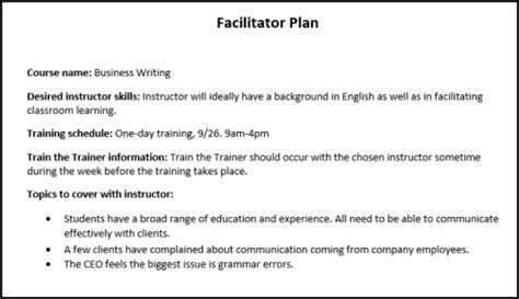 facilitation plan template how to distribute and implement webucator